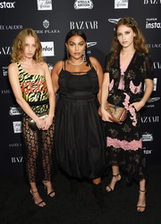 Paloma Elsesser kept it simple in a little black dress with spaghetti straps at the 2018 Harper's Bazaar Icons event.