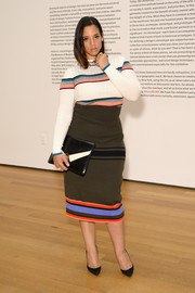 Dascha Polanco sealed off her look with a high-waisted knit pencil skirt, also by Tome.