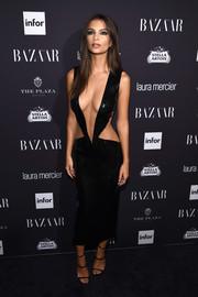 Emily Ratajkowski smoldered in a barely-there LBD by Julien Macdonald at the Harper's Bazaar Icons event.