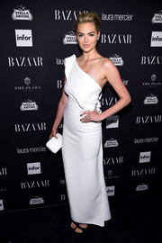 Kate Upton went for understated elegance in a white one-shoulder gown by Toni Maticevski during the Harper's Bazaar Icons event.