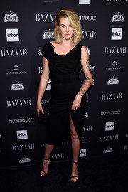 Ireland Baldwin was classic and sophisticated in an asymmetrical LBD by Oscar de la Renta at the Harper's Bazaar Icons event.