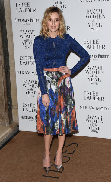 Laura Carmichael opted for a metallic-blue sweater by Christopher Kane when she attended the Harper's Bazaar Women of the Year Awards.