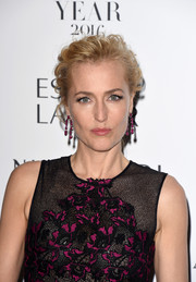 Gillian Anderson attended the Harper's Bazaar Women of the Year Awards wearing her hair in a tousled updo.