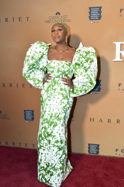 Cynthia Erivo showed off her attention-grabbing style with this puff-sleeved print gown by Rosie Assoulin at the Washington, D.C. premiere of 'Harriet.'