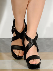 Rachel McAdams opted for classic black strappy sandals for her evening look at the 'Morning Glory' premiere in Madrid.