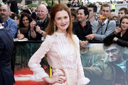 (UK TABLOID NEWSPAPERS OUT) Bonnie Wright attends the world premiere of Harry Potter and the Deathly Hallows Part 2 at Trafalgar Square on July 7, 2011 in London, England.