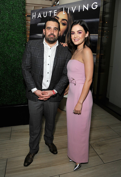 Lucy Hale chose a strapless pink column dress by Cushnie et Ochs for Haute Living's celebration of her cover.