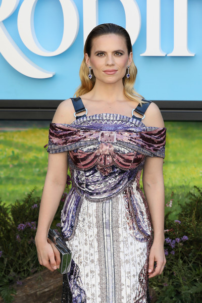 Hayley Atwell Metallic Clutch [clothing,fashion,dress,beauty,shoulder,fashion model,fashion design,model,cocktail dress,long hair,red carpet arrivals,christopher robin,hayley atwell,european,england,london,bfi southbank,premiere,european premiere]