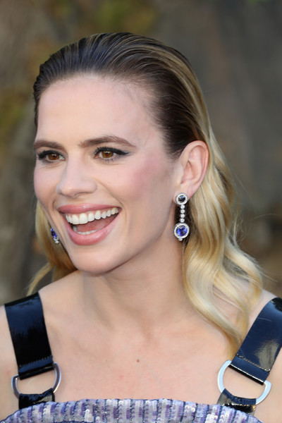Hayley Atwell Dangling Gemstone Earrings [hair,face,hairstyle,eyebrow,ear,beauty,chin,blond,cheek,lip,red carpet arrivals,christopher robin,hayley atwell,european,england,london,bfi southbank,premiere,european premiere]