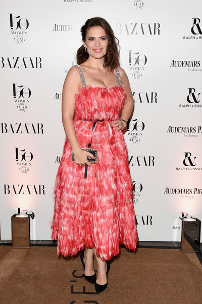 Hayley Atwell Cocktail Dress [clothing,dress,shoulder,cocktail dress,premiere,hairstyle,fashion,pink,joint,flooring,arrivals,hayley atwell,harpers bazaar women of the year awards,england,london,claridges hotel,harpers bazaar woman of the year awards]