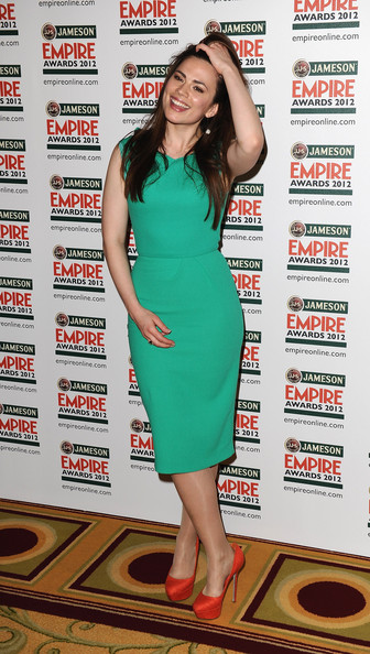 Hayley Atwell Cocktail Dress [press room pictures,clothing,dress,cocktail dress,leg,premiere,footwear,shoulder,long hair,thigh,carpet,hayley atwell,london,england,grosvenor house hotel,jameson empire awards drinks reception,jameson empire awards]