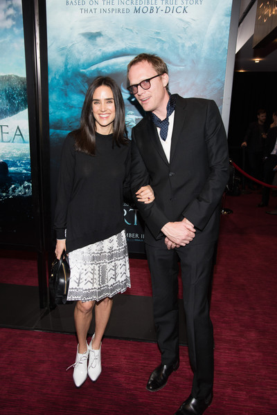 For her footwear, Jennifer Connelly chose a pair of white lace-up booties.