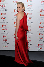 For the Heart Truth fashion show, Natasha Bedingfield walked the runway in this backless red silk gown.