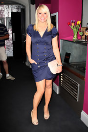 Liz Mcclarnon looked adorable in a navy double-breasted dress at the 'Hearbreaker' gala screening.