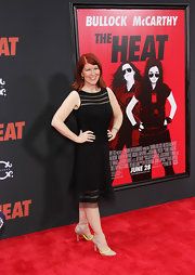 Kate Flannery chose this sheer-panel LBD for her elegant red carpet look during the premiere of 'The Heat.'