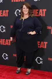 Melissa McCarthy wore gray YSL Tribute sandals with her loose blouse and harem pants combo at the premiere of 'The Heat.'