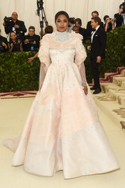 Alicia Quarles looked absolutely breathtaking in a multitextured pale-pink princess gown by Christian Siriano at the 2018 Met Gala.