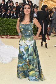Salma Hayek was a breath of fresh air in a garden-motif sequined gown by Altuzarra at the 2018 Met Gala.