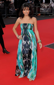 Roxanne Pallett looked so vibrant on the red carpet in a strapless abstract-print dress.