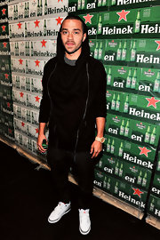 Jesse Williams looked casual while out at the Heineken Star Bottle Launch Dinner when he sported this black hoodie.