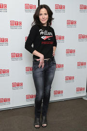 Mary-Louise Parker sealed off her look with black open-toe booties.