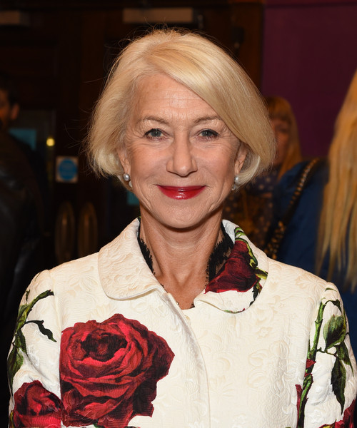 Helen Mirren Bob [hair,blond,hairstyle,beauty,lip,skin,fashion,smile,event,layered hair,helen mirren,live from new york,uk,cineworld haymarket,london,england,premiere,bfi london film festival]