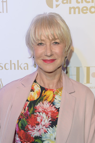 Helen Mirren Short Cut With Bangs [hair,hairstyle,blond,lip,magazine,premiere,layered hair,feathered hair,long hair,bangs,participant media honour hep refugees arrivals,participant media honour hep refugees,helen mirren,cannes,france,hfpa,annual cannes film festival]