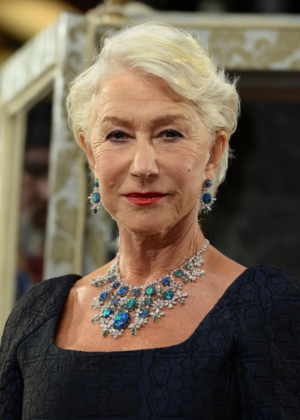 Helen Mirren Short Side Part [hair,face,lady,hairstyle,blond,head,chin,beauty,skin,fashion,red carpet arrivals,catherine the great,helen mirren,uk,england,london,tv premiere,the curzon mayfair]