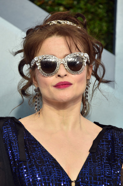Helena Bonham Carter Messy Updo [eyewear,sunglasses,hair,glasses,hairstyle,cool,vision care,lip,black hair,long hair,arrivals,helena bonham carter,screen actors guild awards,screen actors\u00e2 guild awards,los angeles,california,the shrine auditorium,helena bonham carter,sunglasses,celebrity,fashion,screen actors guild awards,screen actors guild award for outstanding performance by an ensemble in a drama series,actor,lookbook,glasses,clothing]