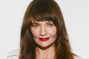 Helena Christensen Long Straight Cut with Bangs