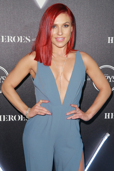 More Pics of Sharna Burgess Jumpsuit (6 of 7) - Suits Lookbook - StyleBistro [hair,clothing,beauty,hairstyle,model,lip,long hair,fashion,blond,brown hair,arrivals,sharna burgess,heroes,city market social house,los angeles,california,espys]