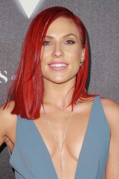 More Pics of Sharna Burgess Jumpsuit (1 of 7) - Suits Lookbook - StyleBistro [hair,face,hairstyle,hair coloring,red,eyebrow,blond,lip,chin,beauty,arrivals,sharna burgess,heroes,city market social house,los angeles,california,espys]
