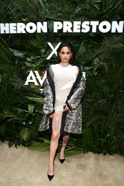 Kehlani showed plenty of leg in a white and gray patchwork mini dress at the Heron Preston + Tequila Avion dance party.
