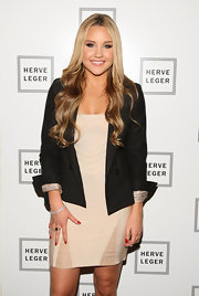 Amanda Bynes topped her nude bandage dress with a classic black blazer.