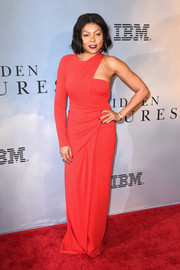 Taraji P. Henson went for a modern vibe in a red one-sleeve gown by Alexander Wang at the New York special screening of 'Hidden Figures.'