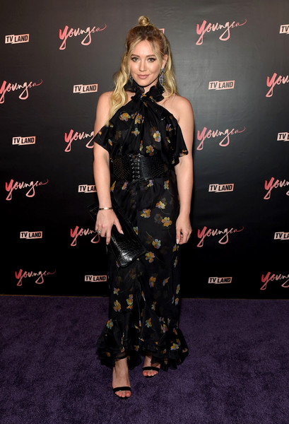 Hilary Duff Strappy Sandals [younger season four,clothing,dress,carpet,fashion model,premiere,fashion,hairstyle,red carpet,flooring,footwear,mr.,hilary duff,new york city,purple,premiere party,younger season four premiere party]