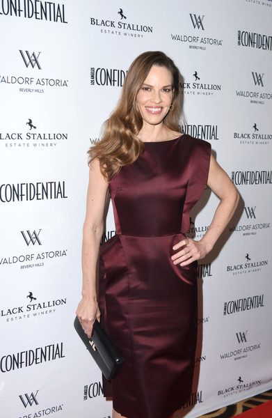 Hilary Swank Leather Clutch [clothing,dress,cocktail dress,shoulder,hairstyle,little black dress,fashion,premiere,carpet,long hair,hilary swank,issue,women of influence,waldorf astoria beverly hills,california,magazine,los angeles confidential]