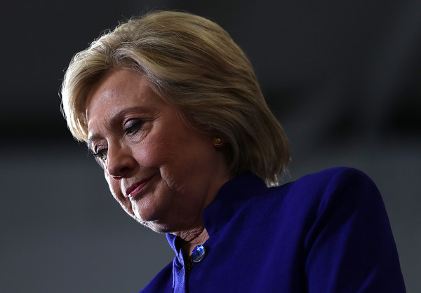 Hillary Clinton opted for a side-parted straight cut when she attended a campaign rally in Orlando, Florida.