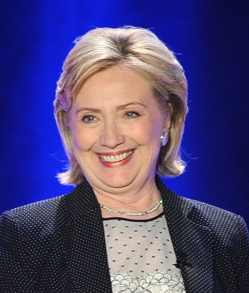 Hillary Clinton Bob [hair,hairstyle,blond,eyebrow,chin,smile,television presenter,forehead,electric blue,newsreader,hillary rodham clinton,william o. douglas dinner,dinner,hyatt regency century plaza,century city,california,public counsel]