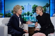 Ellen DeGeneres kept it simple in a black crewneck sweater while taping with Hillary Clinton.