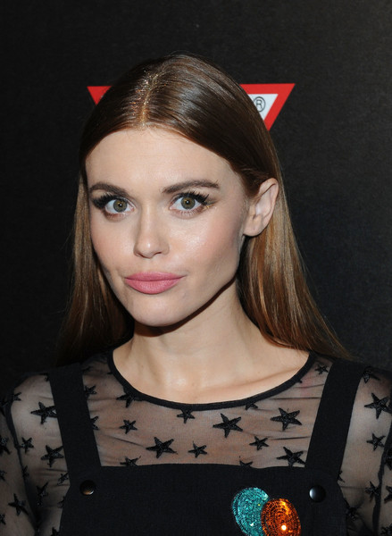 Holland Roden Pink Lipstick [hair,face,hairstyle,eyebrow,beauty,lip,fashion,ear,blond,forehead,holland roden,vma,water,fiji,new york city,republic records,party]