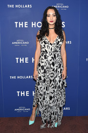 Devika Bhise made a chic statement with this geometric-print, handkerchief-hem maxi dress at the New York screening of 'The Hollars.'