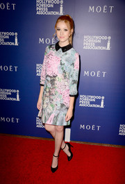 Katherine McNamara was demure and pretty in a Ted Baker London floral dress at the Hollywood Foreign Press Association's Grants Banquet.