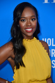Aja Naomi King looked romantic wearing this half-up wavy 'do at the HFPA Grants Banquet.