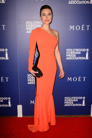 Dasha showed off her slim and shapely physique in a tight-fitting orange one-shoulder gown with a mermaid hem during the Hollywood Foreign Press Association's Grants Banquet.