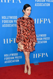 Zoe Lister Jones finished off her ensemble with a ribbed box clutch by Lee Savage.