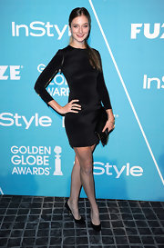 Caitlin Fitzgerald wore a sliek LBD for the Night of Firsts celebration.