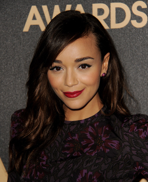 Ashley Madekwe finished off her stunning beauty look with a rich red hue on her lips.