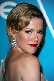 Kathleen Robertson added a sexy side part and soft retro curls to her sweet short cut for A Night of Firsts presented by the Hollywood Foreign Press Associate and 'InStyle.'