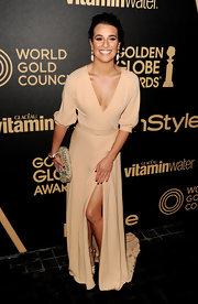 Lea looked her usual glam self in a nude gown with a hip-high slit at the Golden Globe award season celebration.